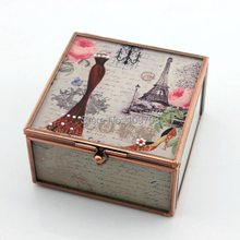 2015 New Design Wedding Gifts Paris Style Glass Trinket Box Glass Jewelry Box SCJ687-BM-A new paris style
