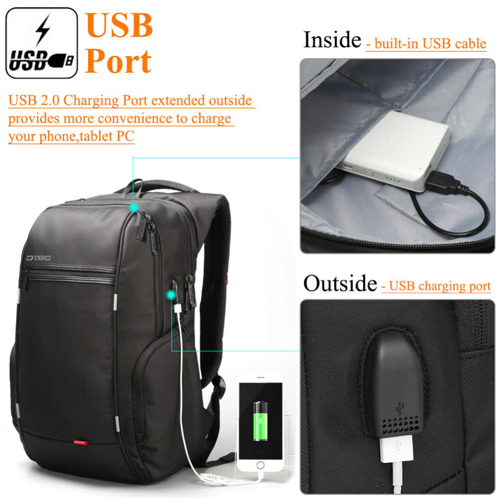 08191cd1ac07 ... DTBG 17.3 Inch Laptop Backpack with USB Port Nylon Water-Resistant Work Laptop  Rucksack College ...