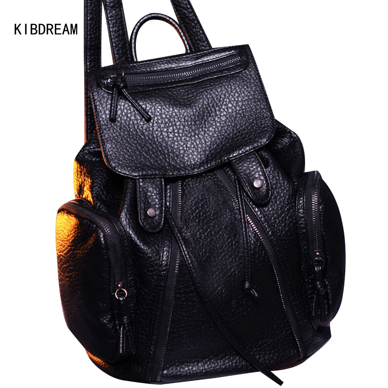 ФОТО KIBDREAM 2017 Spring New Korean Version Of The Retro Sheepskin Wash Leather Locomotive Bag Tide Free Shipping