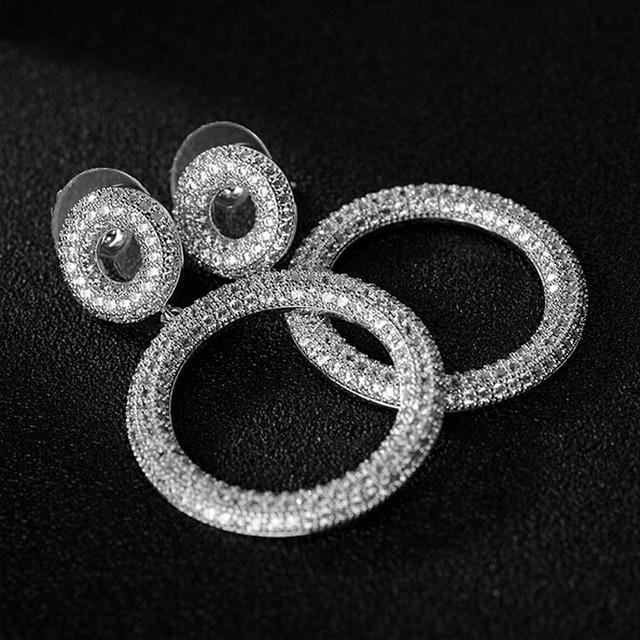 2016 novo luxo duplo círculo completo micro pave aaa top cz dangle brincos de jóias para as mulheres