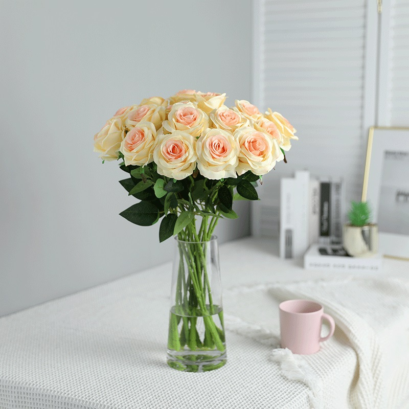 Xuanxiaotong 10pcs set Yellow Rose silk Flowers Artificial Bouquet with Leaves for Wedding Centerpieces Decoration Home Decor in Artificial Dried Flowers from Home Garden