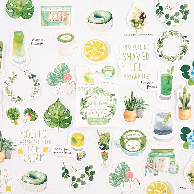 Green Forest Bullet Journal Decorative Stationery Mini Stickers Set Scrapbooking DIY Diary Album Stick Lable Kawaii Stationery