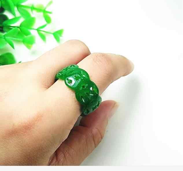 หยกสีเขียวแห้งแหวนมังกรเหล็กสุขภาพที่ว่างเปล่าหยกแหวนหยกแกะสลักแหวน 3000 #
