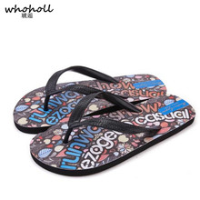 цена на WHOHOLL Men Slippers Beach Shoes Summer Camouflage Doodling Man Flip Flops Shoes Sandals Slipper Indoor & Outdoor Flip-flops