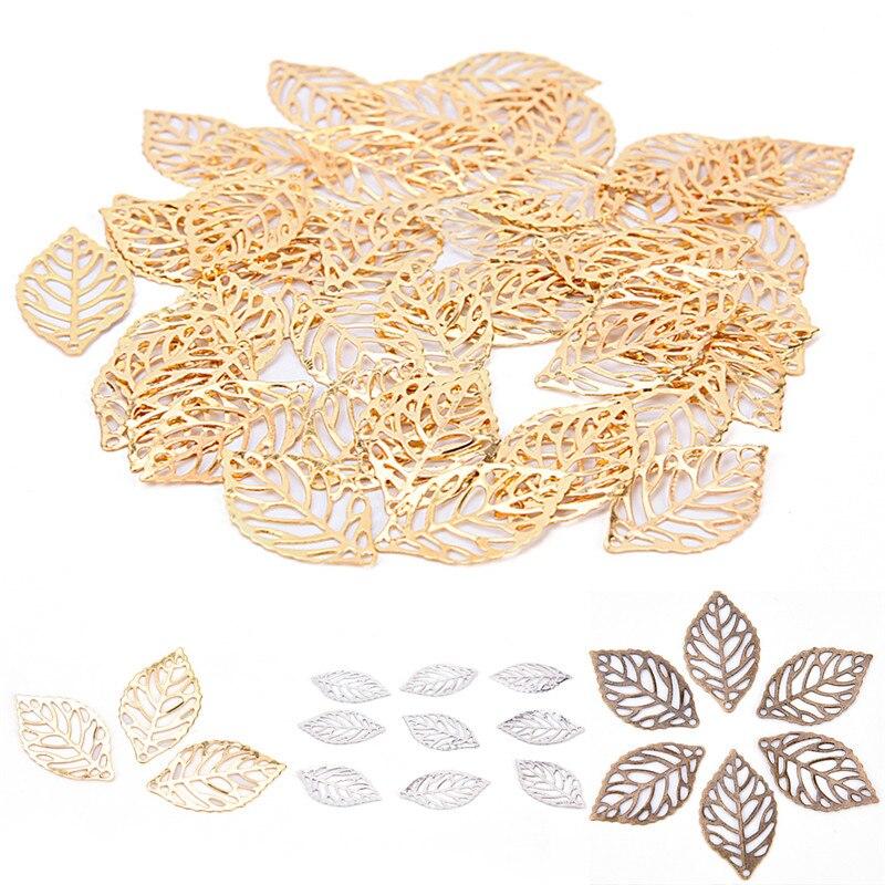 50 шт./лот белый, золото, бронза античная бронза металл филигрань Цветы Slice листья Талисманы установив ювелирные изделия DIY задатки