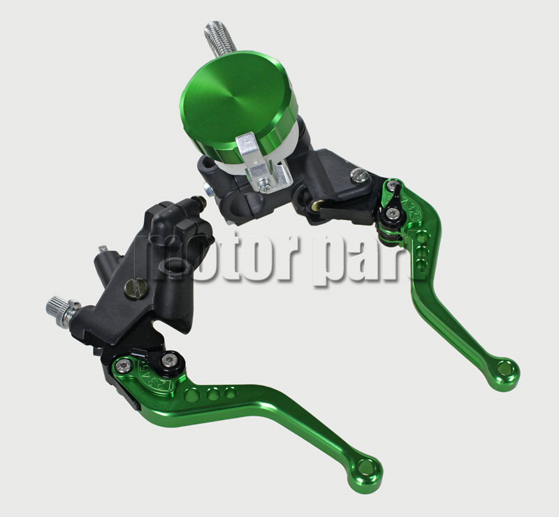 Green Color 22mm 7/8 Universal Handlebar Adjustable CNC Brake Clutch Master Cylinder Levers Fluid Oil Reservoir Set For BMW universal motorcycle brake fluid reservoir clutch tank oil fluid cup for mt 09 grips yamaha fz1 kawasaki z1000 honda steed bone