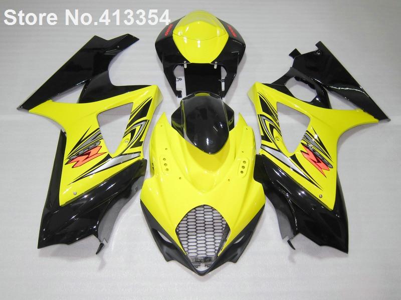 Vente chaude carénages pour Suzuki GSXR 1000 07 08 jaune noir moto carénage kit GSXR1000 2007 2008 RY29