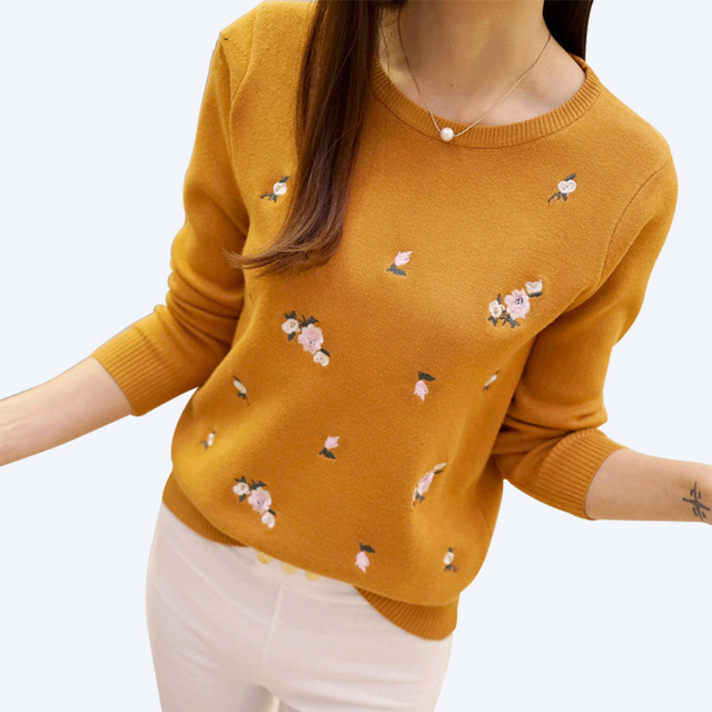 2017 Winter Sweaters Women Embroidery Ladies Pullover Female Autumn High Elastic Tricot Jumper Fashion Winter Tops Pull Femme