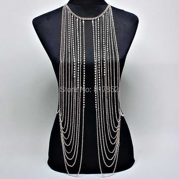 FASHION STYLE MAKER BY-02 WOMEN SILVER COLOUR CHAINS BODY CHAINS SILVER RHINESTONE CHAINS MULTI-LAYERS BODY JEWELRY 2 COLORS