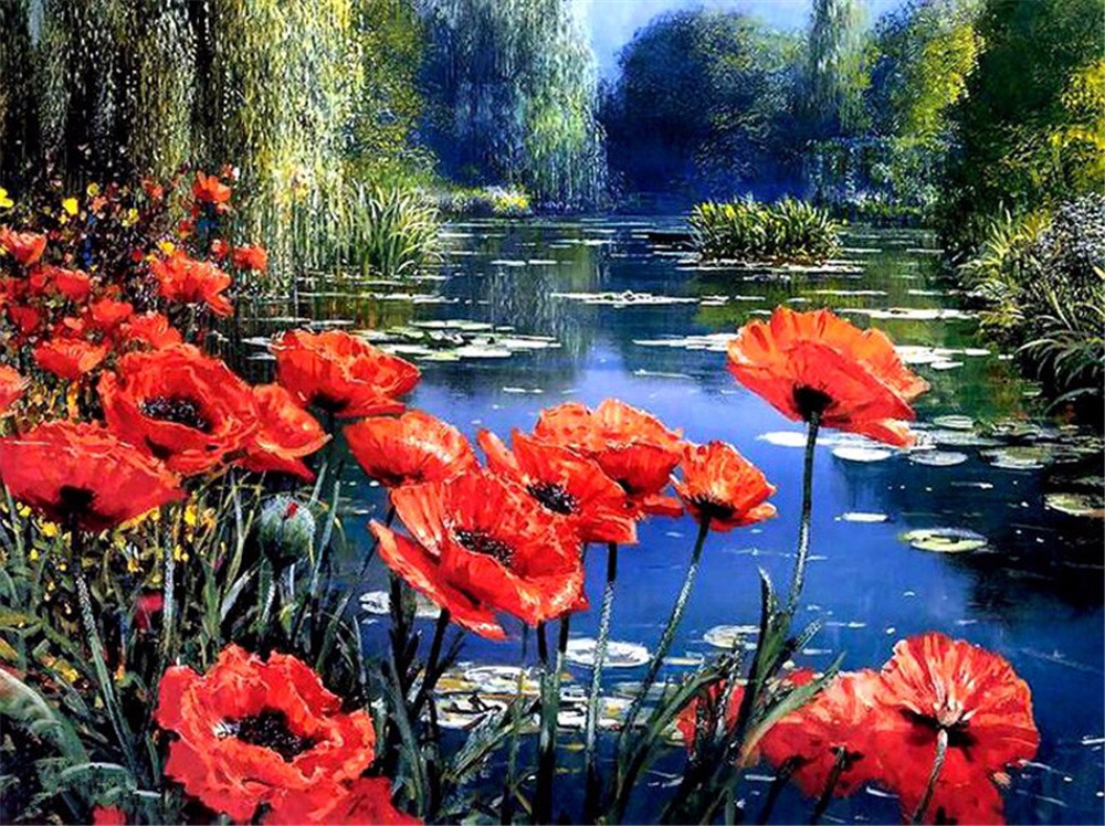 алмазна картина з квітами маку, картини стразами, квадратні, повні, diy, мак, алмазні картини, червоні квіти
