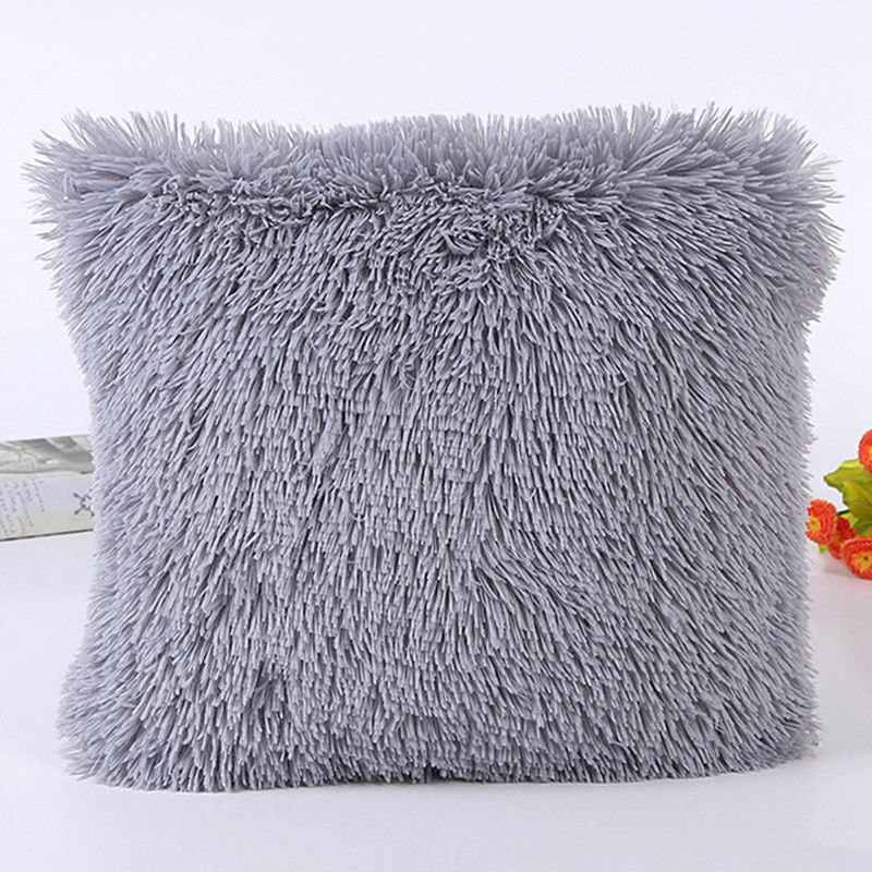 Fluffy Soft Plush Square Pillow Cushion Case Room Sofa Waist Throw Cushion Cover
