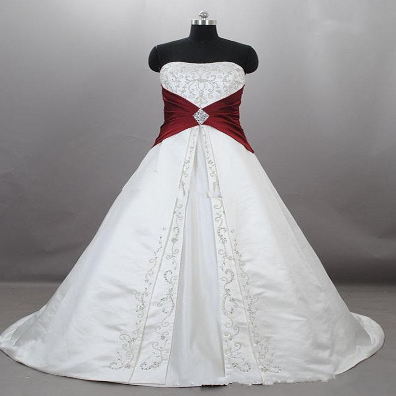 Red And White Lace Wedding Dress: New Strapless Satin Embroidery Red And White Wedding