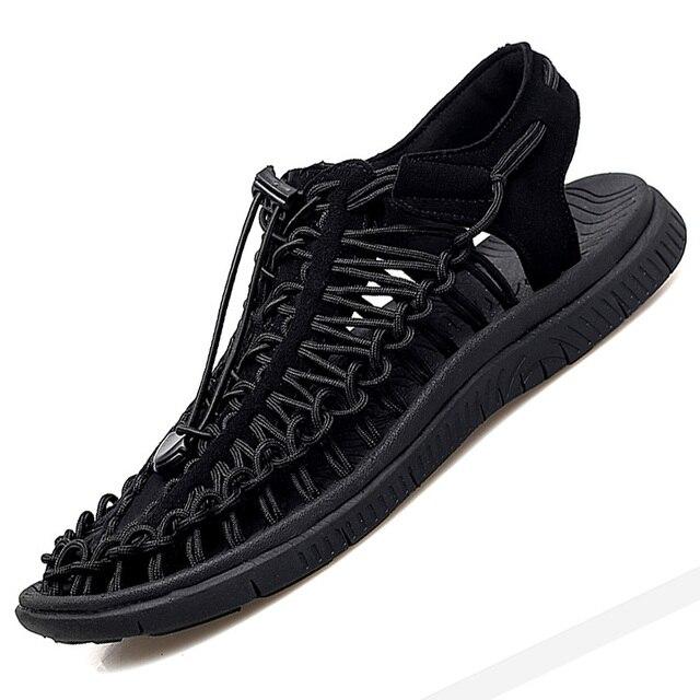 Summer Big Size 48 Men Sandals Fashion Handmade Weaving Design Breathable Casual Beach Shoes Soft Bottom Outdoor Sandals for Men 2