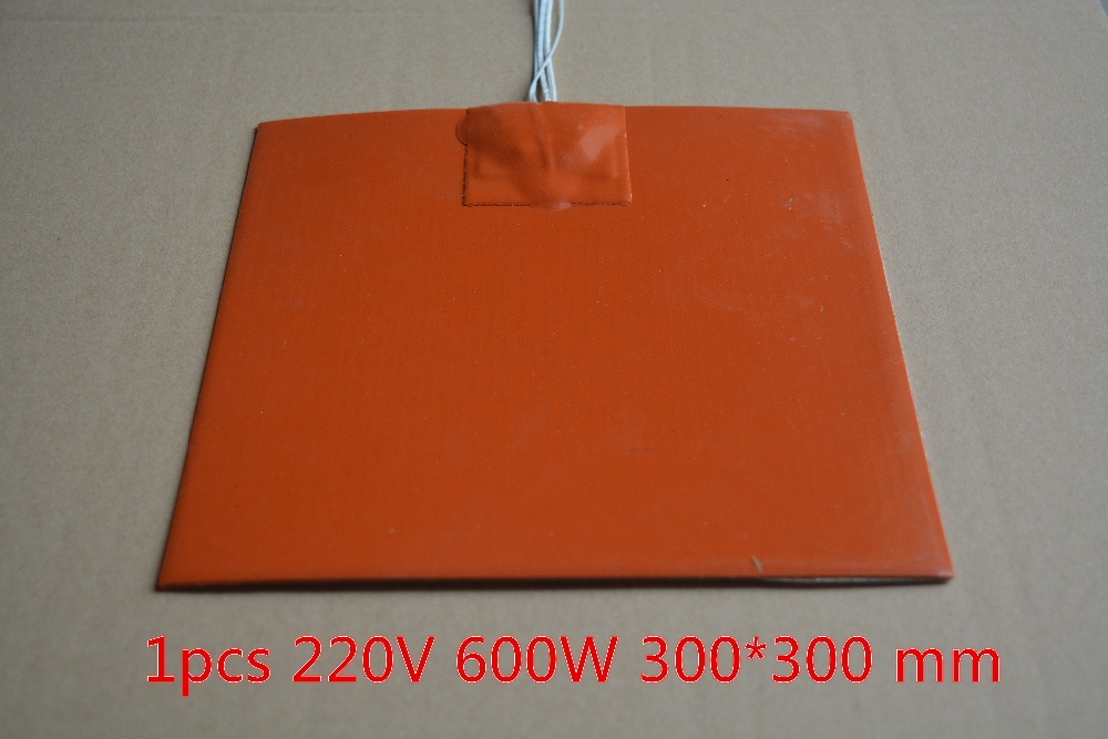 Silicone heating pad heater 220V 600W 300mmx300mm for 3d printer heat bed 1pcs