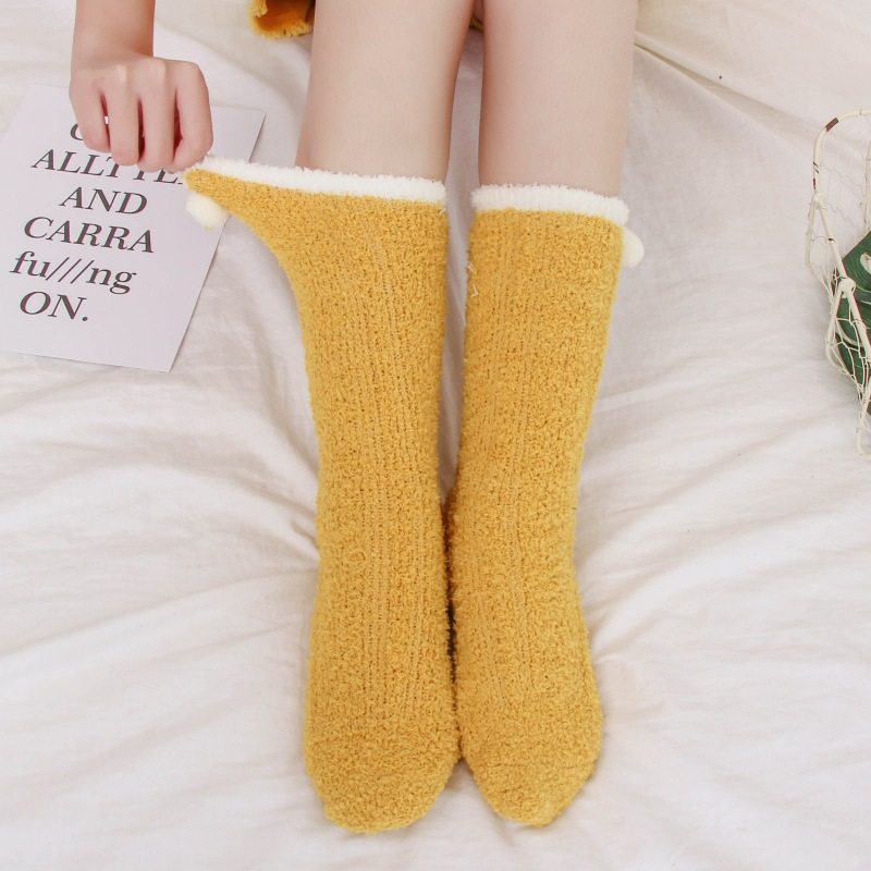 Winter Warm Coral fleece Fluffy Thickening   Socks   Women Pure Solid Color Thermal   Sock   Ultra Thick Female Meias Sleep Bed   Socks