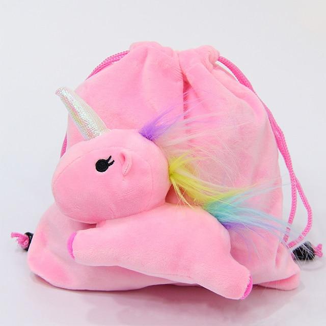 889a2325999 Storage-Tas dengan Hewan Boneka Lembut Plush Unicorn Tas Kereta Boneka  Mainan untuk Anak-