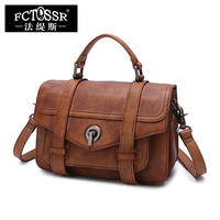 Vintage Women Satchel Handbag Handmade Genuine Leather Office Ladies Hand Shoulder Bags Top handle Messenger Crossbody Bag