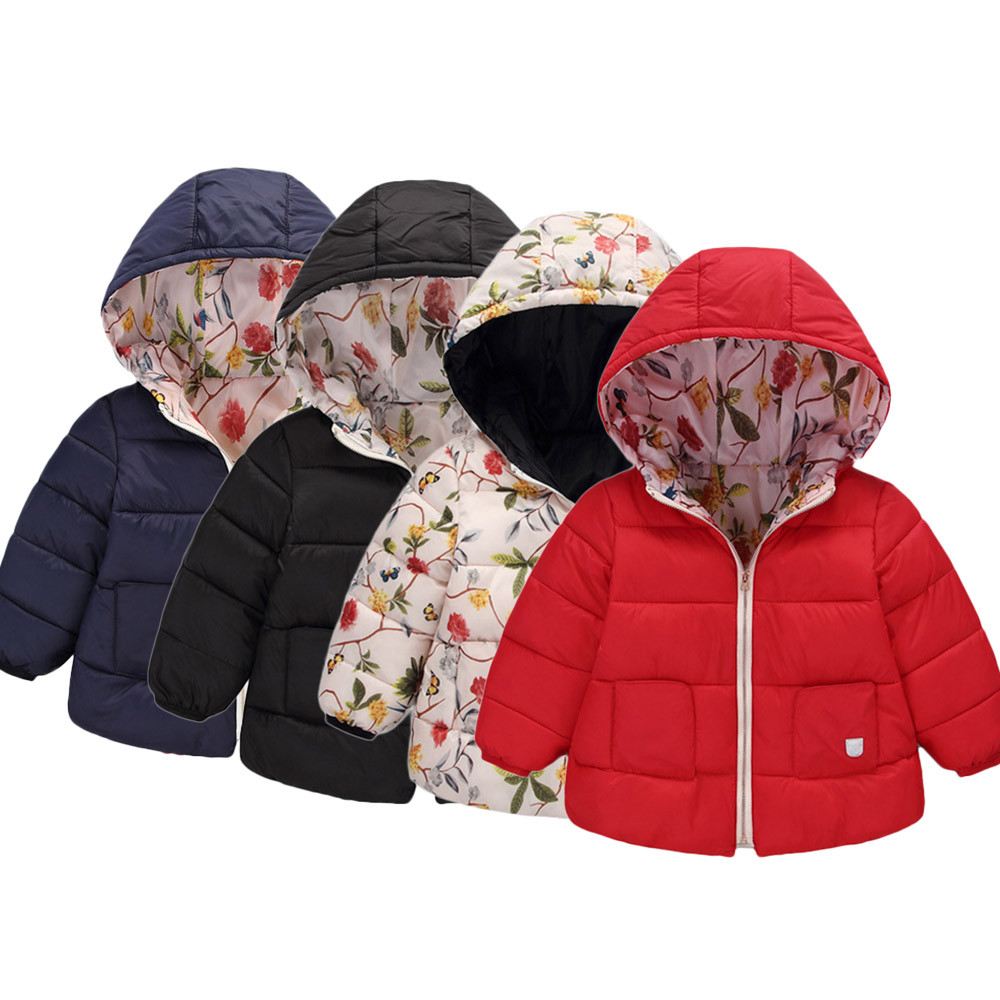 MUQGEW Boy Winter Snowsuit Coat Outerwear Manteau Floral-Jacket Baby-Girl Fashion Thick