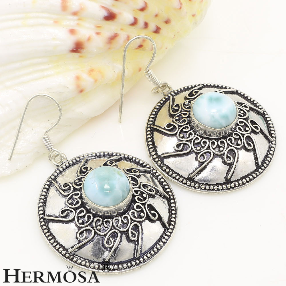 Exotic fashion jewelry - Exotic Unique Vintage Blue Larimar Fashion 925 Sterling Silver New Arrival Earrings 2 1 8