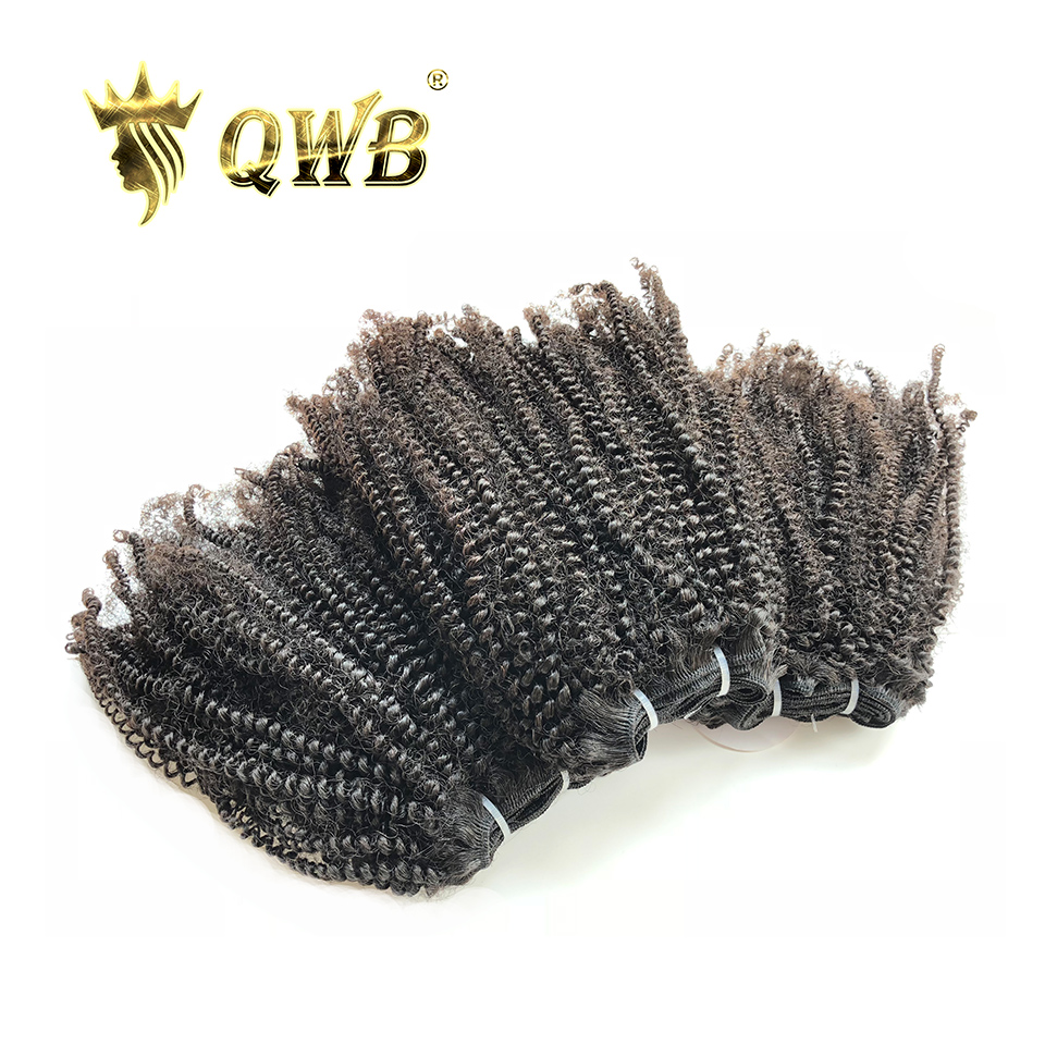 QUEEN WEAVE BEAUTY QWB Free Shipping Coily Curly 3Bundle Lots 14 22 Brazilian Virgin Nature Color