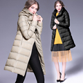 Pato abajo las mujeres chaqueta de invierno con capucha abrigo largo parkas engrosamiento Mujer Ropa de Abrigo Delgado abajo cubre elegante de Alta Calidad 6265