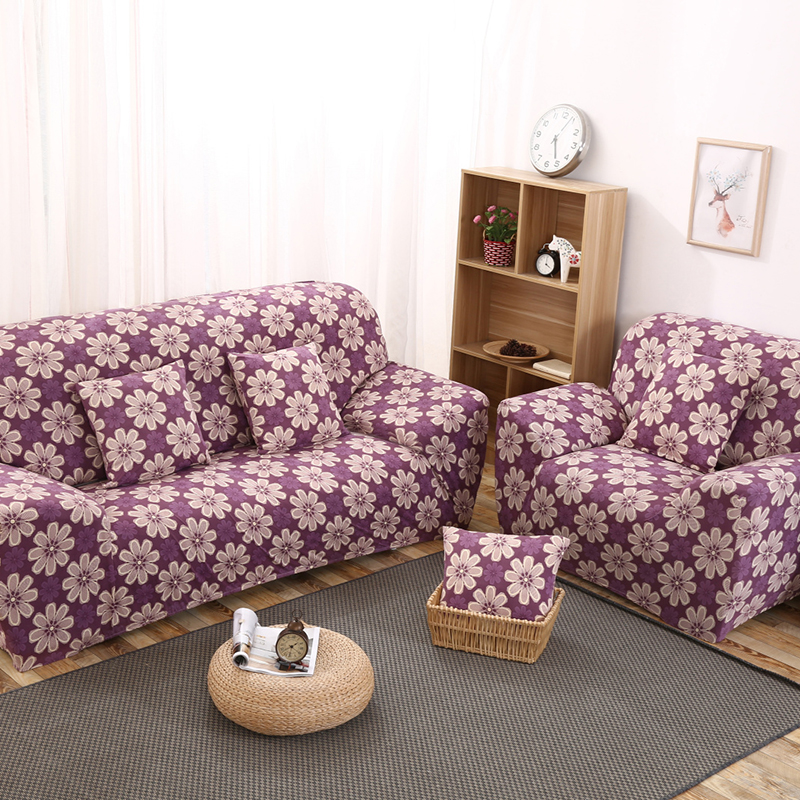 Elastic Sofa Covers Purple Flowers Couch Seat Slipcover Protector for Living Room Office Home Furniture Decoration Gifts