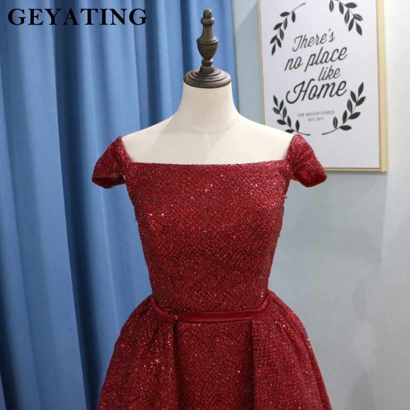 2245e3a1ca Saudi Arabic Burgundy Sequins Evening Dress with Detachable Skit Cap  Sleeves Sparkly Sequined Wine Red Long Women Prom Dresses