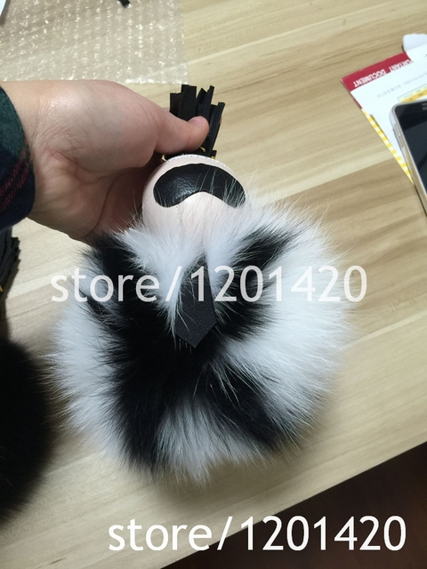 pompoms karl Keychains bag Charm Bag Bugs Fur Monster Black white genuine fox furry K keyring cute accessories