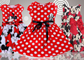Retail 2016 summer cute baby girls sleeveless red princess dress children cartoon minnie mickey bow girl party clothes kids wear