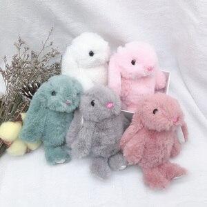 Image 2 - 새 도착 귀여운 부드러운 솜털 토끼 박제 동물 토끼 장난감 패션 인형 아기 소녀 키즈 선물 동물 인형 키 체인