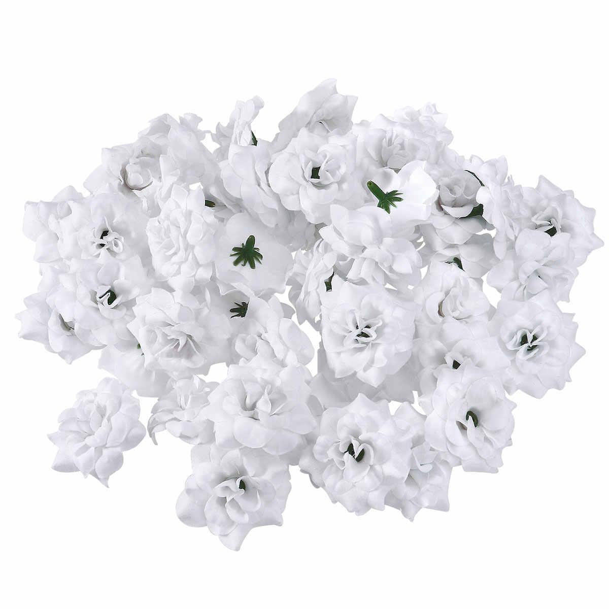 50PCS Mini 4.5 ซม.โฟม Silk Rose ดอกไม้ประดิษฐ์ดอกไม้สีขาว Beige Rose ดอกไม้งานแต่งงานตกแต่ง Scrapbooking Rose ดอกไม้