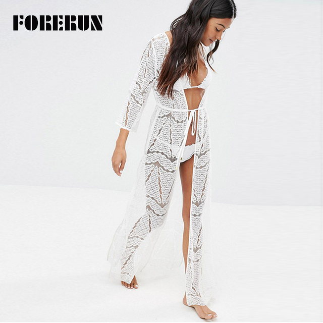 FORERUN 2017 Summer Beach Kimono Cardigan Women White Lace Split ...