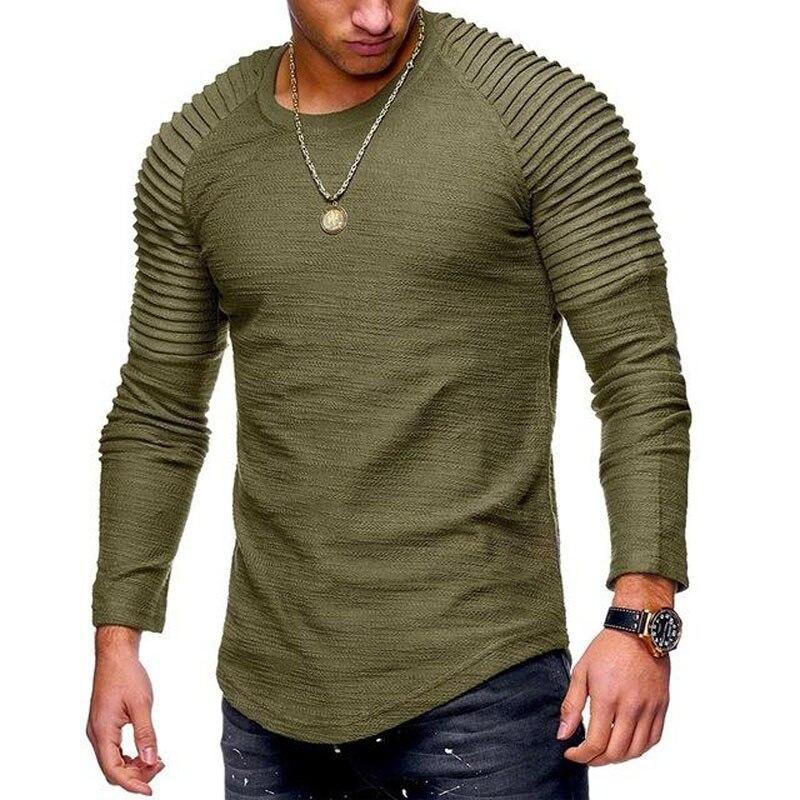 2018 Novos homens da Moda Em Torno Do Pescoço de Cor Sólida Fino Longo-manga comprida T-shirt Listrado Fold Estilo Manga Raglan T camisa Dos Homens Cobre T