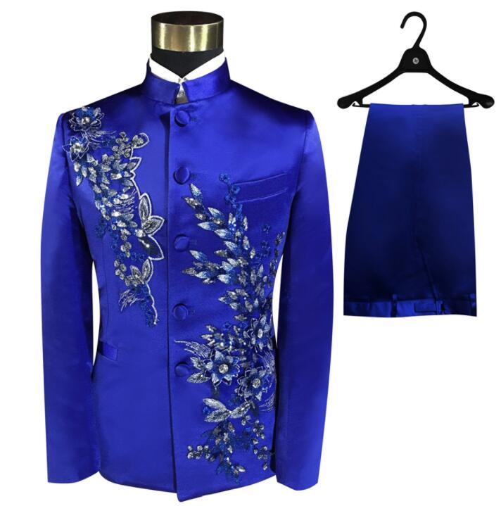 Blazer men Chinese tunic suit set with pants mens wedding suits costume singer stage Blue embroidery clothing slim formal dress(China)