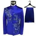Blazer mannen Chinese tuniek pak set met broek heren wedding suits kostuum singer stadium Blauw borduurwerk kleding slanke formele kleding