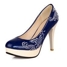 สุภาพสตรีแพลตฟอร์มรองเท้าส้นสูงรองเท้าแฟชั่นสิทธิบัตรเย็บปักถักร้อยส้นเท้าบางผู้หญิงปั๊มขนาด33-48ผู้หญิงรองเท้าแต่งงานกริช