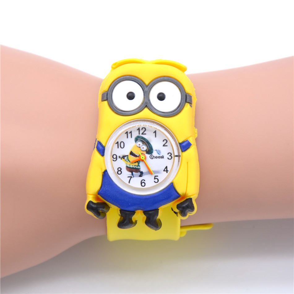 Relogio Feminino New Relojes Cartoon Children Watch Little Yellow Man Watches Fashion Kids Cute Rubber Leather Quartz Watch Boy