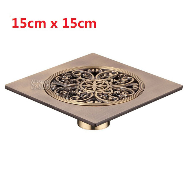 rushed ralo de banheiro 15cm bathroom shower drain floor trap waste grate antique brass drainer