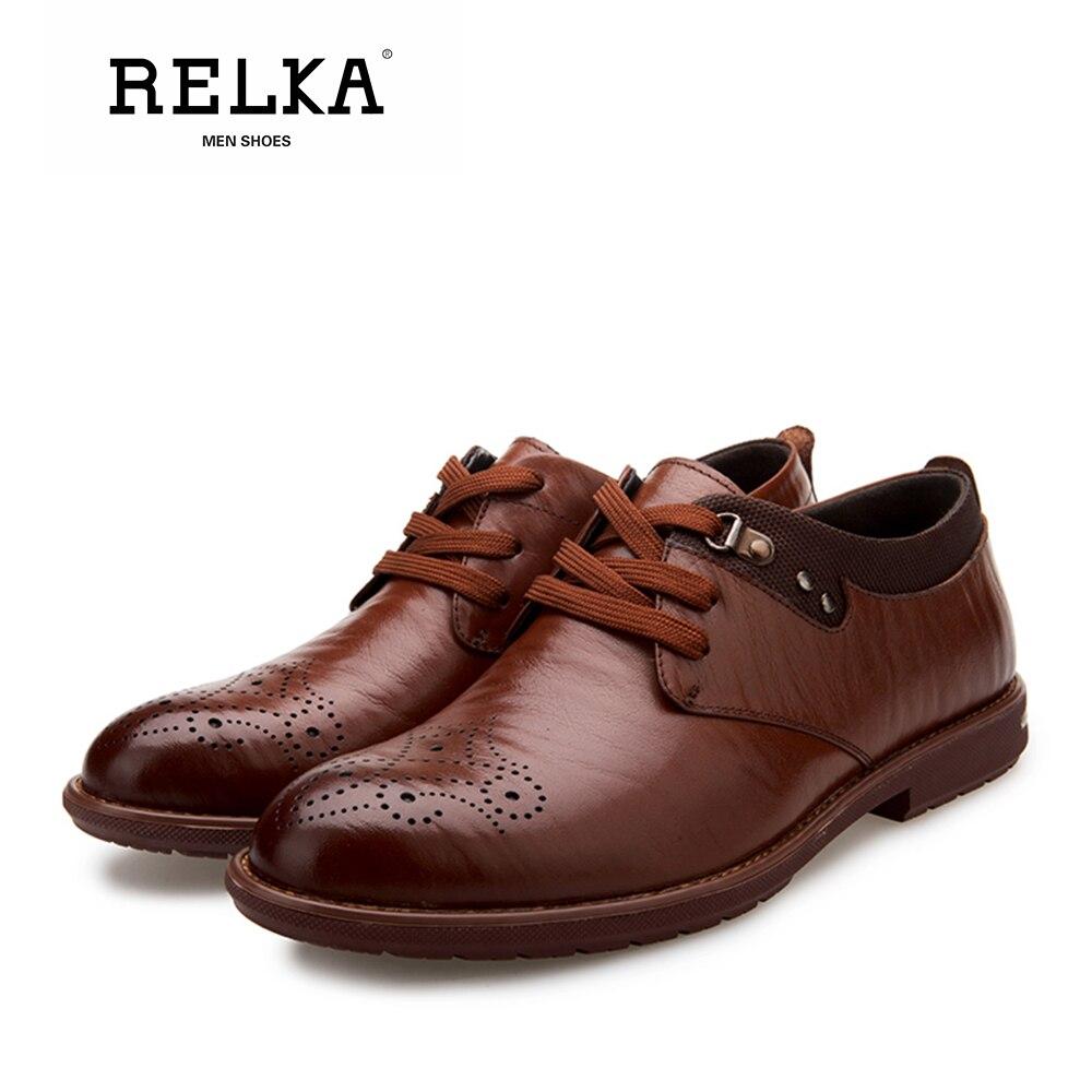 Sólidos up Luxo Dedo Redondo Dos Sapatas Pé Bem Salto Sapatos Vintage Homens N13 Lace Confortável Ocasional Couro qualidade Relka Do Genuíno De UaqRnBqxw