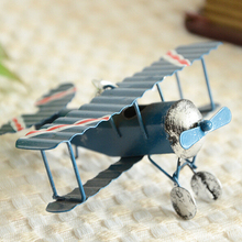 Aviones de juguete Vintage, modelo de Metal, hierro, artesanía, avión, decoración para el hogar, boda, coche, estilo artesanal
