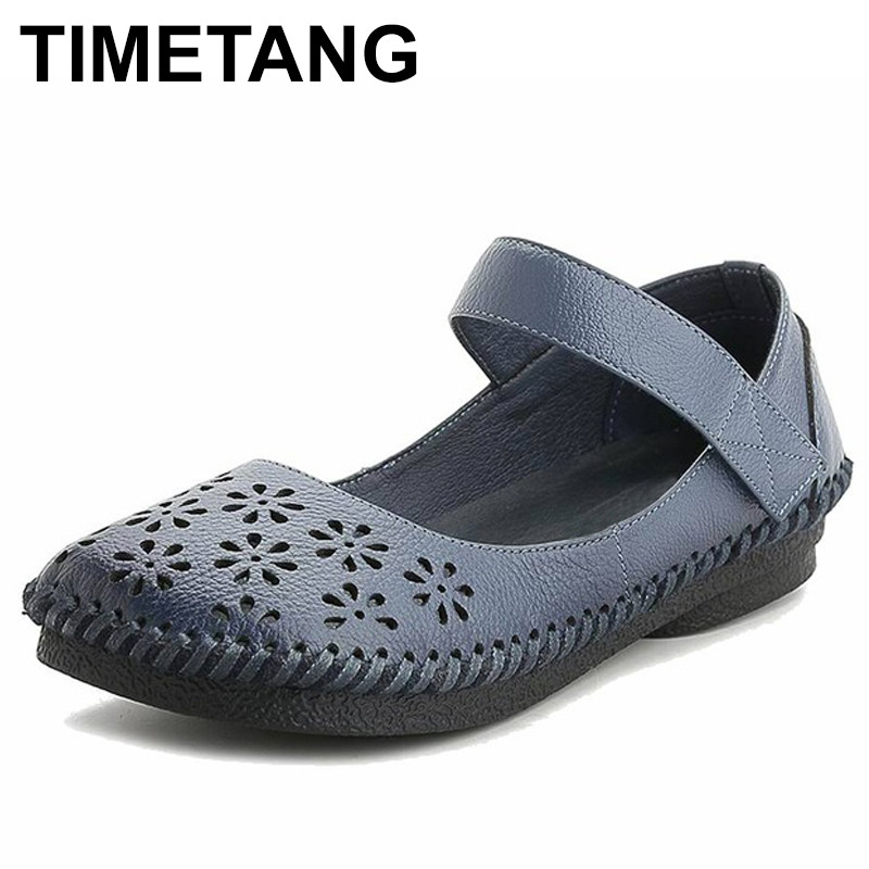 TIMETANG Summer Shoes Women 2018 Fashion Genuine Leather Flat Shoes Woman Casual Comfortable Flats Soft Loafers Women Shoes C169 cresfimix zapatos women cute flat shoes lady spring and summer pu leather flats female casual soft comfortable slip on shoes