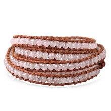 Bohemian Genuine Brown Leather Bracelet White Gem Beaded Strand Bracelets 5 Wraps Adjustable Handmade Fashion Jewelry Charm Gift