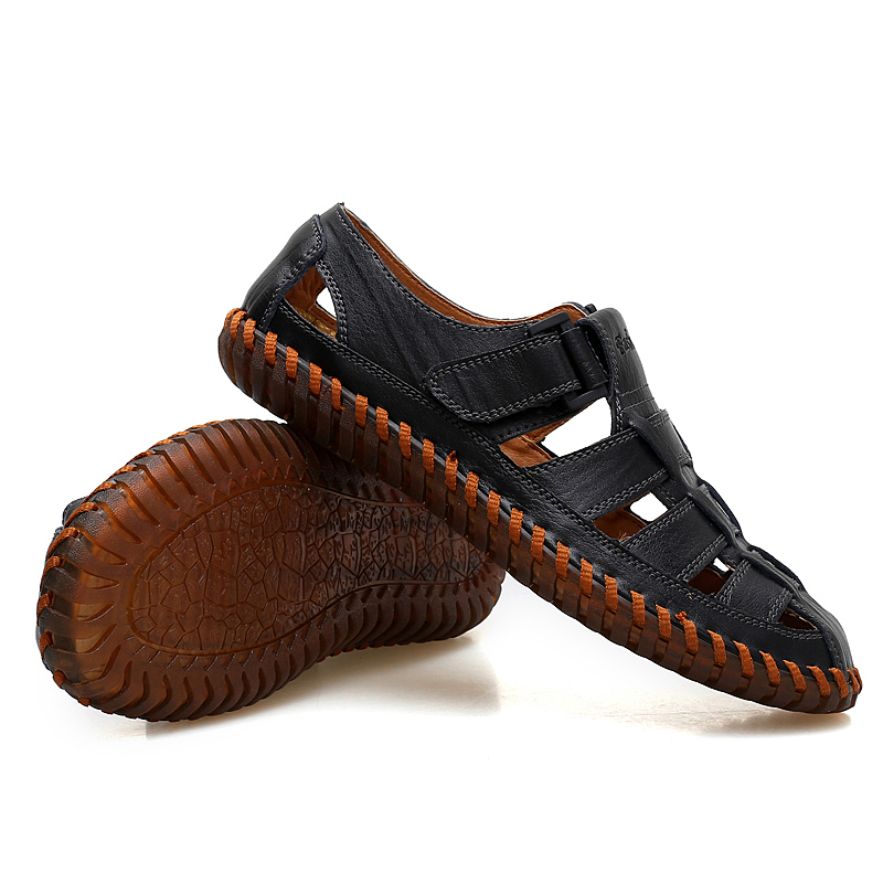 Verão laranja Preto Couro Dxkzmcm Homens De Dos Genuínos Masculinos Sandálias marrom Tênis Sapatos Praia Respirável qRqwH