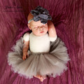 2015 new Newborn 0-3month Baby girls lovely  grey Petti skirt Tutu and floral headband 2pcs outfits Photo Prop baby shower gift