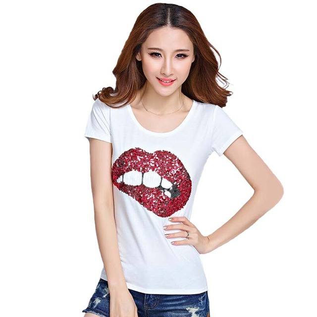 9b242d8439e Free Shipping 2016 Hot European summer street shooting star with a T-shirt  and white lips handmade beads optionally