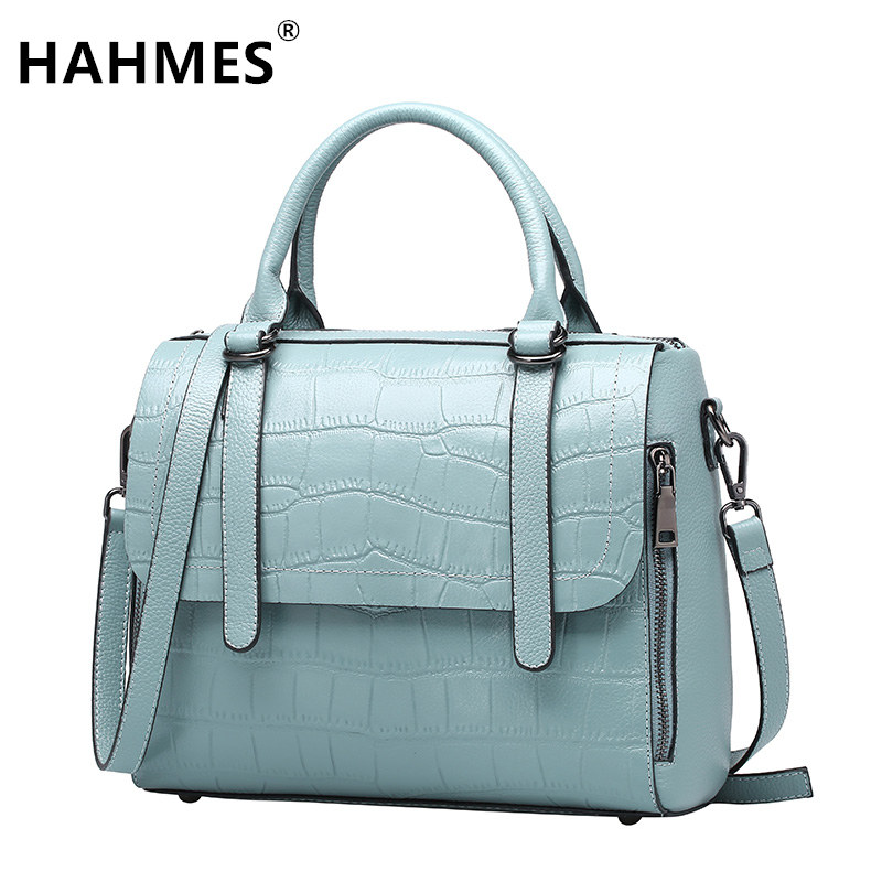 HAHMES 100% Genuine Leather Women's handbag Crocodile pattern designer female real cow leather tote bag 28cm 10763# hahmes 100