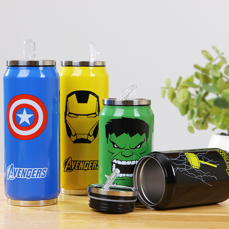 2016 Nye 1PCS Avengers Stainless Steel Vacuum Cup 350mL / 500mL Halmkugle Termisk Vandflaske Tumbler Thermocup Thermomug