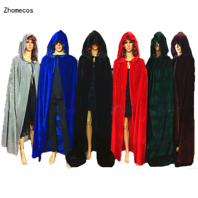 95faa69207 Adult Gothic Hooded Velvet Cloak Wicca Robe Medieval Witchcraft Larp Cape  Halloween Costumes Women Men Vampire Size S M L XL
