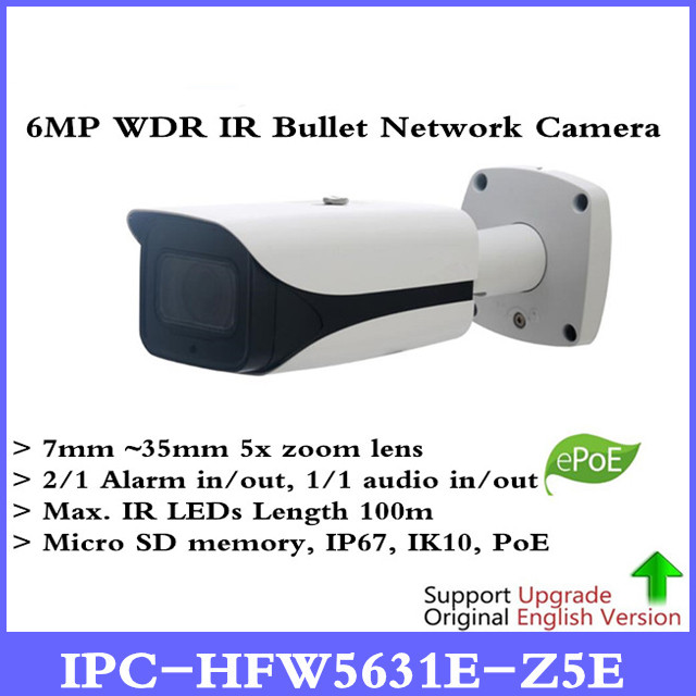 DH Anglais version 6MP IP Caméra IPC-HFW5631E-Z5E 6MP Poe IR Bullet Réseau Survillance Caméra 7mm-35mm 5x zoom lentille IP67