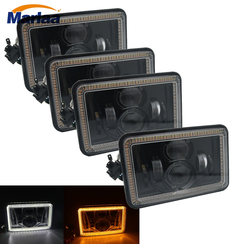 Square 4X6 Inch 12V 24V LED Headlights Replacement For Ford Trucks 4 x 6 High Low